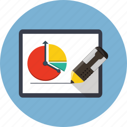 business, chart, diagram, stock, strategy, tablet icon