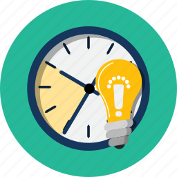 alert, glass, hour, ideea, light bulb, saving, time icon