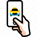 cab, call, reserve, ride, share, taxi, track icon