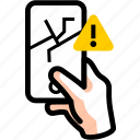crack, damage, error, fragile, phone, warning icon