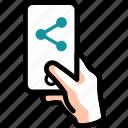 collaborate, mobile, phone, send, share icon