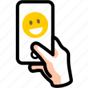 call, face, joy, smile, smiley, video icon