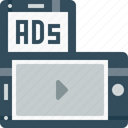 ads, advertising, commercial, marketing, mmsad, mobile, videoad icon