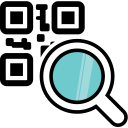 magnifying glass, code, qr, barcode, qr code icon