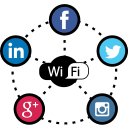 facebook, hotspot, marketing, social, social media, twitter, wifi icon