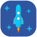 cosmos, rocket, sky, space, stars icon