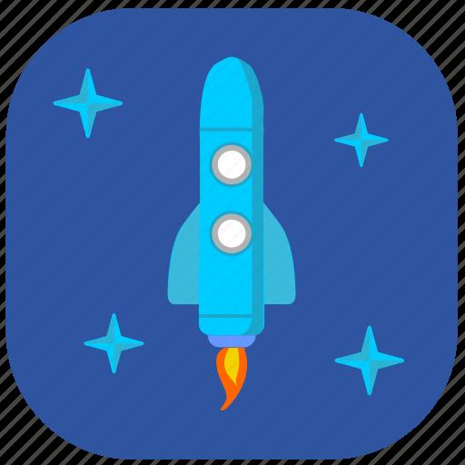 cosmos, rocket, sky, space, stars icon