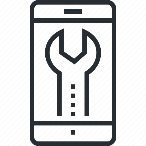 app, maintenance, mobile, pixel icon, setting, thin line, utility icon