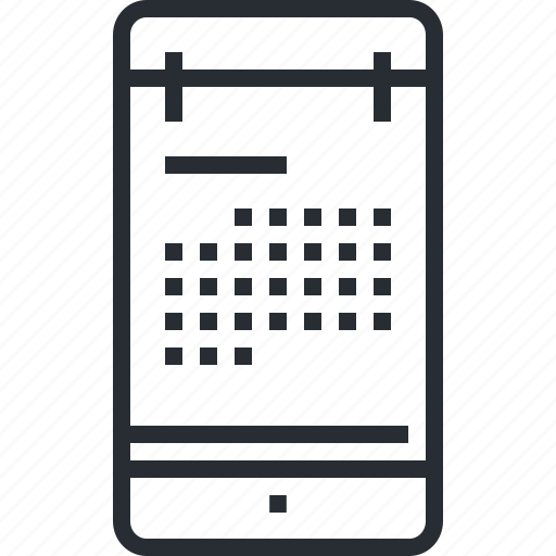 applications, calendar, date, mobile, pixel icon, thin line, time icon