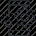 service, mobile, setup, applications, pixel icon, thin line, utility icon