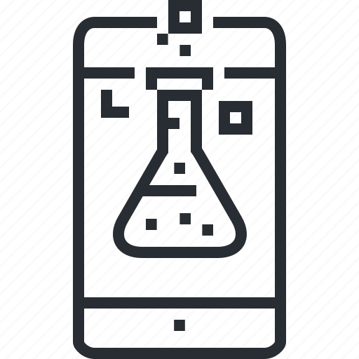 applications, line, mobile, pixel icon, research, science, thin icon