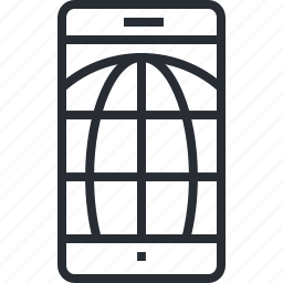 app, internet, mobile, networking, pixel icon, service, thin line icon