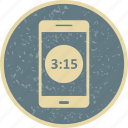app, display, mobile, phone, time icon