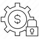 cog, finance, gear, lock, money, security icon