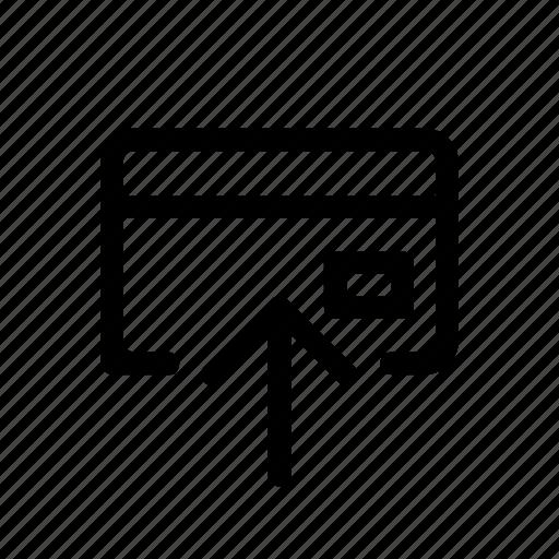 arrow, card, credit card, up, up arrow icon