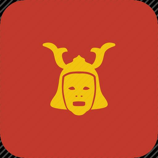 asia, japan, mask, ronin, theather, warrior icon