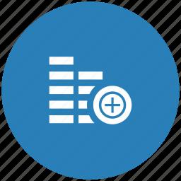 account, add, blue, cash, create, money, round icon