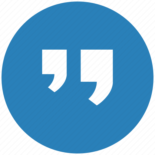 blue, comma, edit, quote, round, text icon