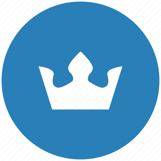 blue, crown, king, round, royal icon