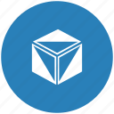 blue, box, cube, figure, model, round icon