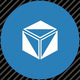 blue, box, cube, figure, model, round icon