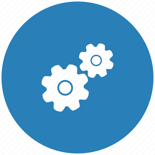 blue, engine, gears, mechanism, round, settings icon