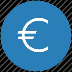 blue, cash, euro, money, round icon