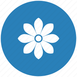 blue, bud, flower, plant, rose, round icon