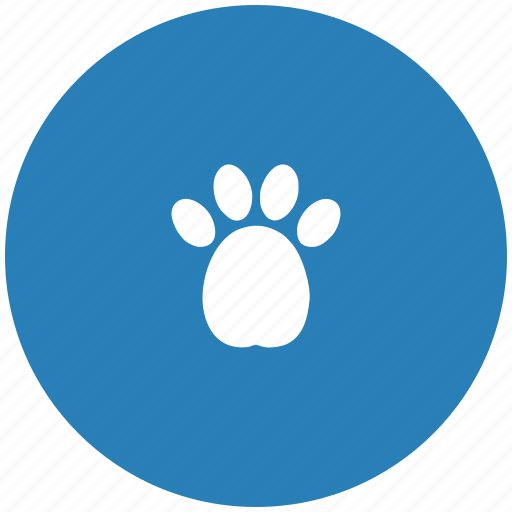 blue, dog, footstep, puppy, round icon