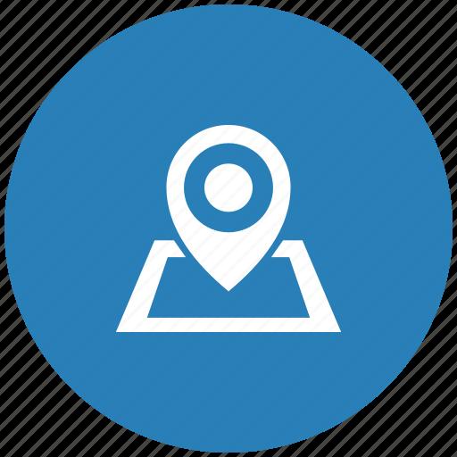 blue, geo, map, navigation, pointer, round icon