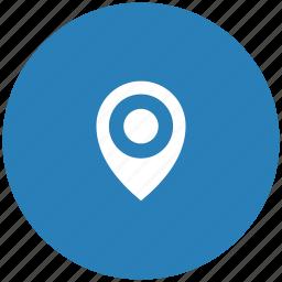 blue, geo, navigation, place, pointer, round icon