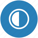 blue, chart, contrast, half, part, round icon