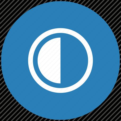 blue, chart, contrast, half, part, round icon