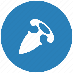 blade, blue, hand, knife, round, tactic icon