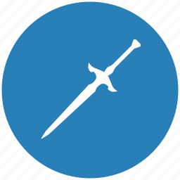 blade, blue, knife, round, sword, weapon icon