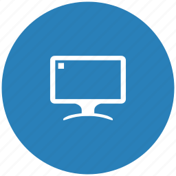 blue, display, monitor, round, screen icon