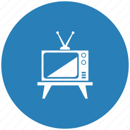 antenna, blue, old, round, set, tv icon