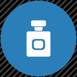 aroma, blue, bottle, parfume, round icon