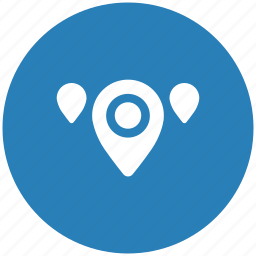 blue, geo, map, pointer, region, round icon
