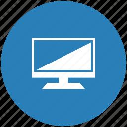 blue, display, round, screen, set, tv icon