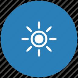 blue, brightness, contrast, flash, round, sun icon