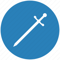 blade, blue, round, sword, weapon icon