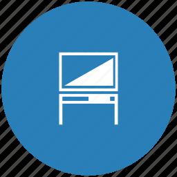 blue, monitor, plazma, round, set, table, tv icon