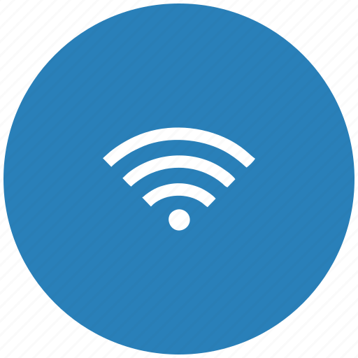 blue, connect, free, internet, round, wifi icon