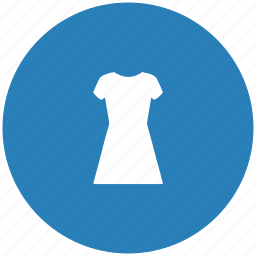blue, dress, evening, round, shopping, woman icon