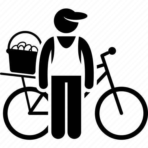 bicycle, bike, delivery, food, man, seller, selling icon