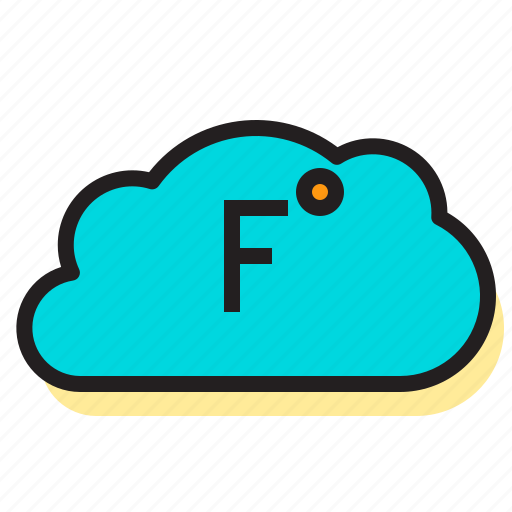 clouds, fahrenheit, storm, temperature, thermometer, weather icon
