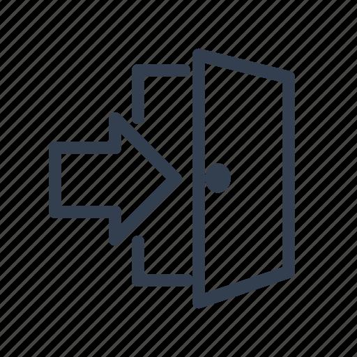 arrow, door, exit, interface, open door icon