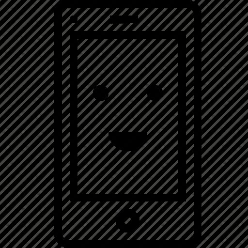application, browser, emoj, face, happy, mobile, smiley icon