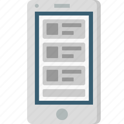 blog, browser, layout, mobile, photo, webpage, wireframe icon